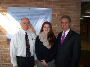 DA Early with Principal Larry Murphy and National Honor Society President Natalie Phelps.