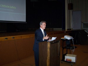 DA Early warns North Brookfield High School students about the dangers of texting and driving.