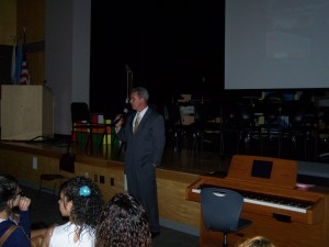DA Early talks to students at Southbridge High School.