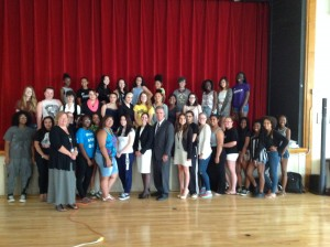 DA Early and staff with young people from Girls Inc. in Worcester. This was the first distracted driving presentation to an audience of just girls.