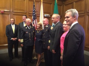 DA Early participated in the program for the swearing in of Worcester Fire Chief Geoff Gardell and the honoring of retiring chief Gerard Dio.