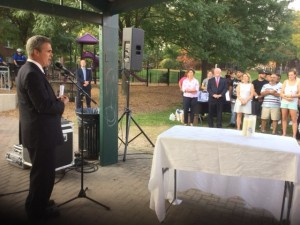 DA Early speaks at the candlelight vigil for overdose victims at Fuller Park.